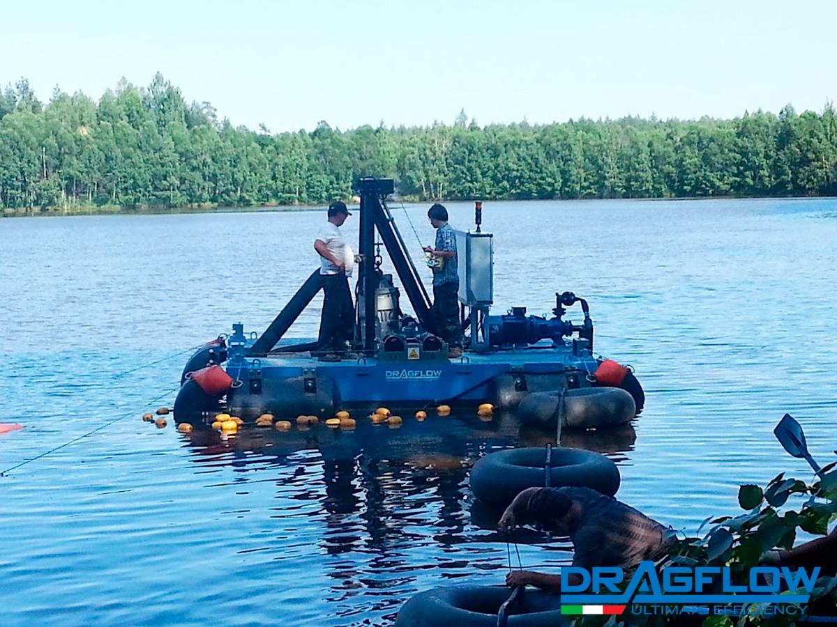 Мини земснаряд серии DRP со грунтовым шламовым насосом DRAGFLOW EL35B c электроприводом