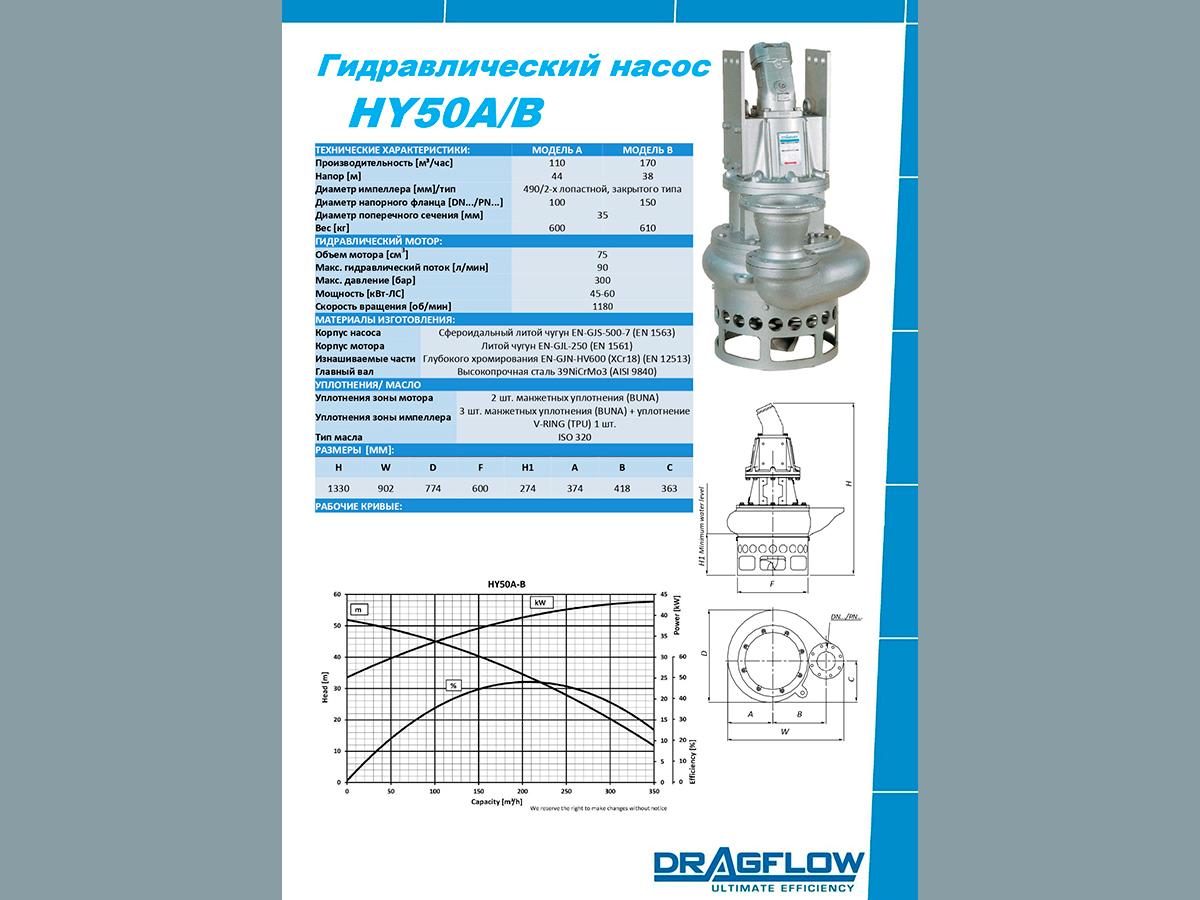 Дноуглубительный грунтовый шламовый насос DRAGFLOW HY50B с гидравлическим приводом