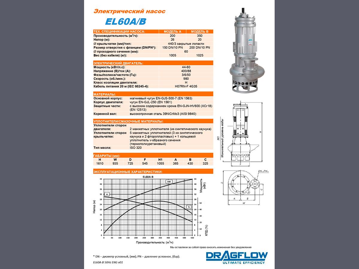 Шламовый грунтовый насос DRAGFLOW EL60B c электрическим приводом
