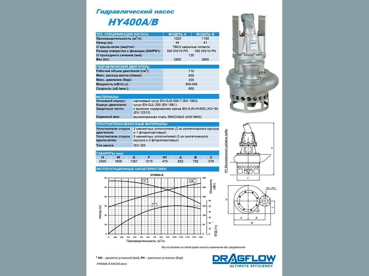 Погружной грунтовый насос DRAGFLOW HY400 +2EXHY35