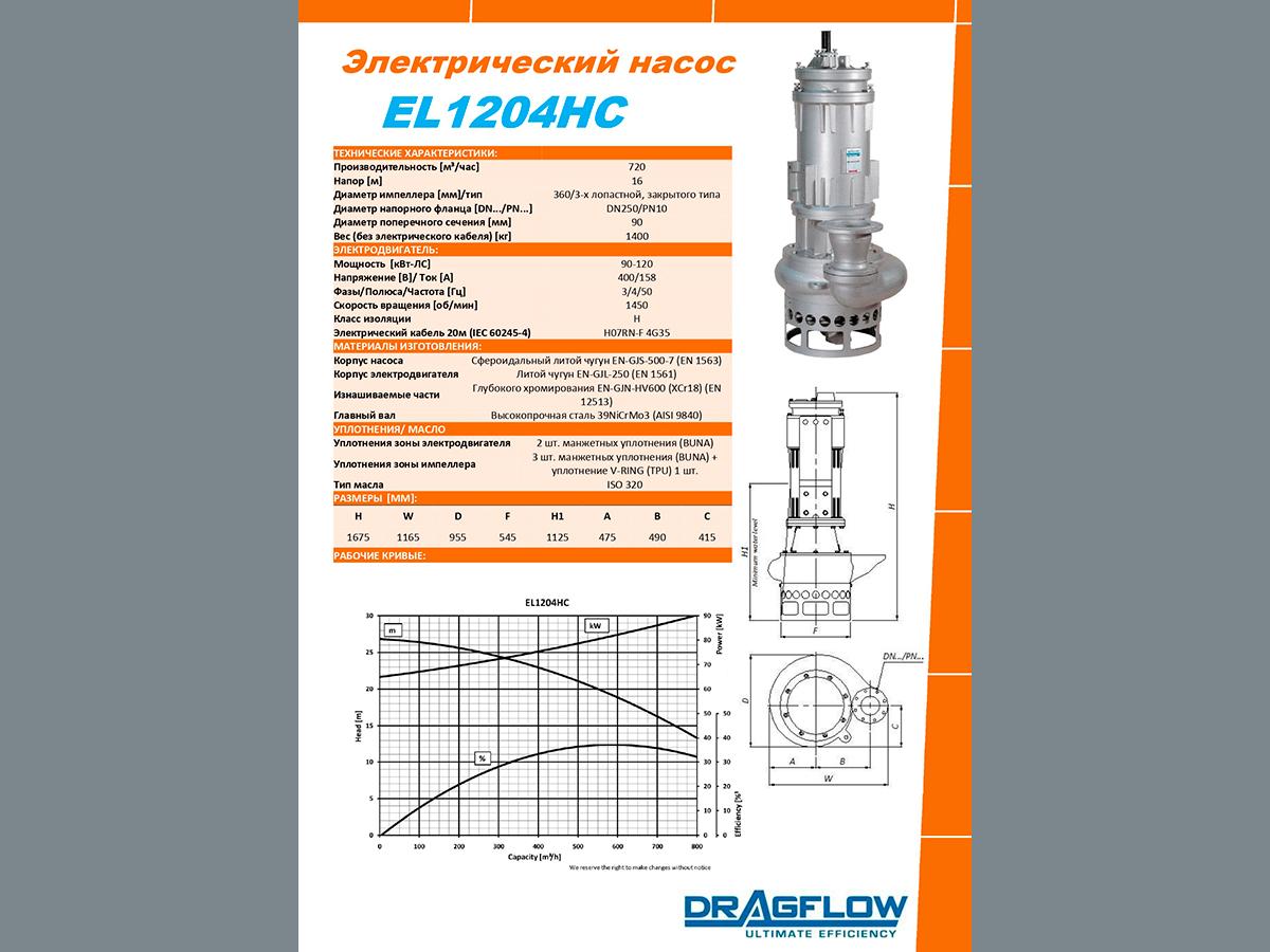 Погружной  шламовый грунтовый насос DRAGFLOW EL1204HC
