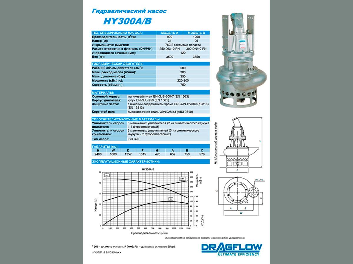 Дноуглубительный грунтовый шламовый насос DRAGFLOW HY300B + 2EXHY20