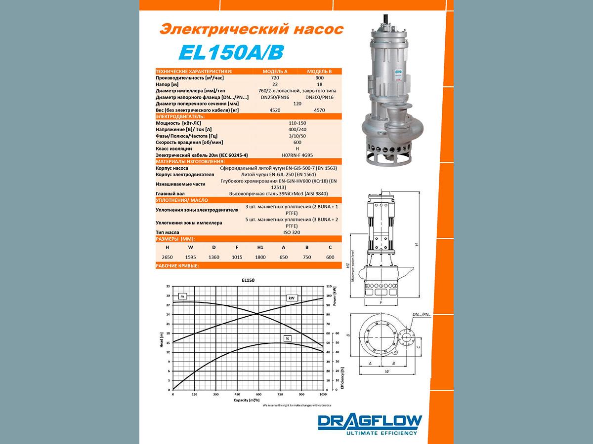 Дноуглубительный грунтовый шламовый насос DRAGFLOW EL150B c электрическим приводом
